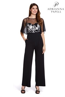 Adrianna Papell Black Long Jumpsuit