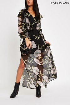 River Island Black Feminine Floral Maxi Dress