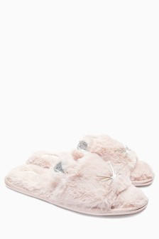 Faux Fur Cat Sliders