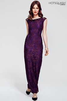 HotSquash Purple Cowl Neck Lace Maxi Dress