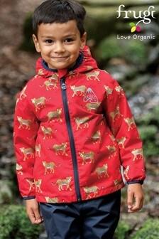 Frugi Red Leopard Recycled Waterproof Packaway Jacket