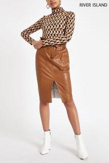 River Island Tan PU Midi Skirt