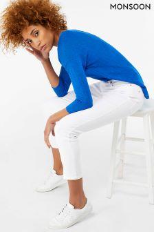 Monsoon White Safaia Ankle Crop Jean