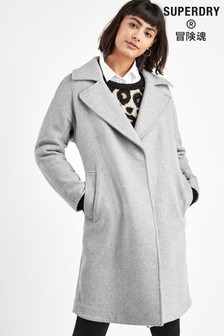 Superdry Grey Wool Coat