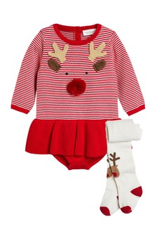 Reindeer Stripe Dress And Tights (0mths-2yrs)