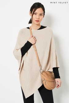 Mint Velvet Beige Ribbed Knitted Poncho