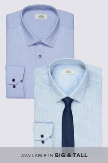 Print And Texture Slim Fit Shirts Two Pack With Tie