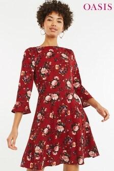 Oasis Red Renaissance Rose Skater Dress