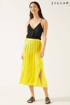 Jigsaw Yellow Crocus Drape Pleated Skirt
