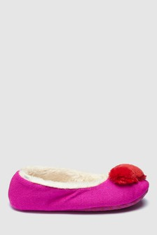 Heart Pom Ballerina Slippers