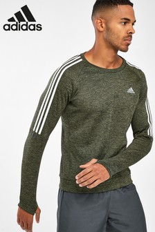 adidas Khaki Own The Run Crew Sweater