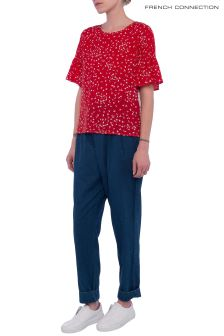 French Connection Red/White Komo Top