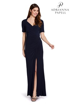 Adrianna Papell Blue Draped Jersey Gown