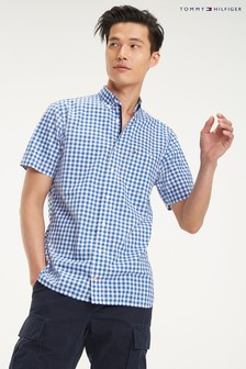 Tommy Hilfiger Blue Classic Gingham Short Sleeve Shirt
