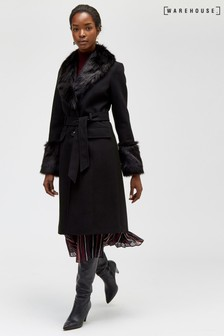 Warhouse Faux Fur Detail Belted Coat