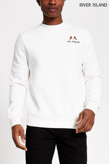 River Island White Slim Ninety Six Flag Crew Jumper