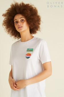 Oliver Bonas White Patches T-Shirt