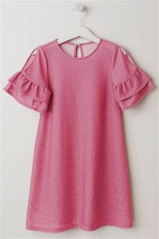 Flute Sleeve Sparkle Dress (3-16yrs)