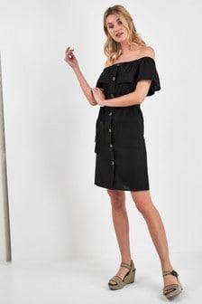 Schulterfreies Kleid mit Knopfleiste