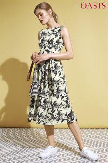 Oasis Tropical Print Midi Dress