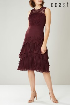 Coast Red Rose Tiered Lace Dress