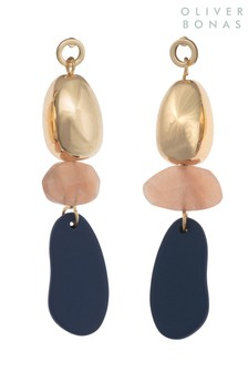 Oliver Bonas Gold Tone Rendezvous Mixed Mat Pebble Drop Earrings