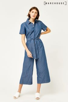 Warehouse Mid Wash Stripe Jumpsuit