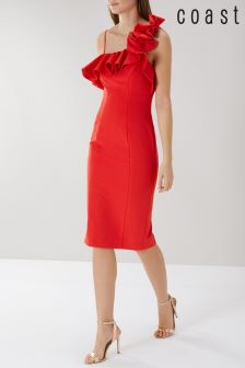 Coast Red Lina Ruffle Shift Dress