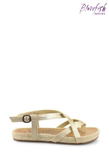 Blowfish Gold Granola Rope Braided Jute Wrapped Strappy Sandals
