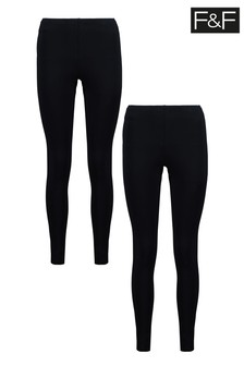 F&F Black Leggings Two Pack