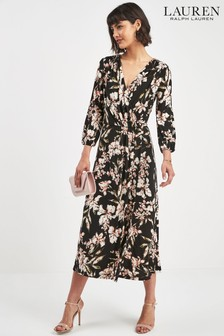 Lauren Ralph Lauren® Black Floral Wrap Midi Dress