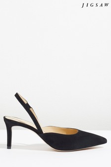 Jigsaw Black Ffion Suede Heeled Slingback