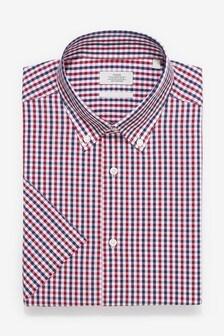 Cotton Regular Fit Short Sleeve Check Button Down Shirt
