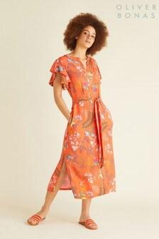 Oliver Bonas Orange Fairy Tale Floral Button Dress
