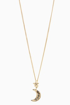 18 Carat Gold Plated Pave Moon Necklace