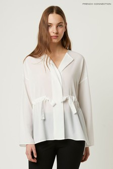French Connection White Crepe Light Gathered Waist Blouse