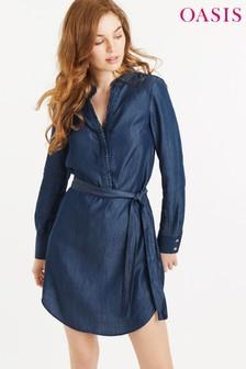 Oasis blauwe jurk met ruches en kraag