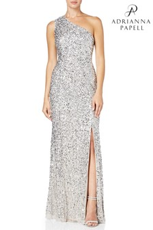 Adrianna Papell Silver One Shoulder Gown