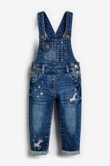 Unicorn Embroidery Dungarees (3mths-7yrs)