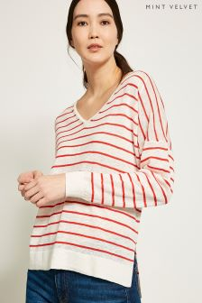 Mint Velvet Stripe V-Neck Boxy Knit Top