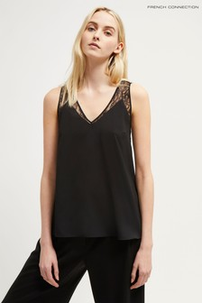 French Connection Black Crepe Light Lace Trim Vest
