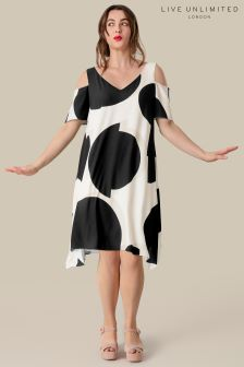 Live Unlimited Black Abstract Spot Trapeze Dress