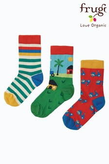 Frugi Red Tractor Organic Cotton Socks 3 Pack