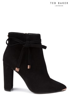 Ted Baker Black Suede Qatena Bow Ankle Boot