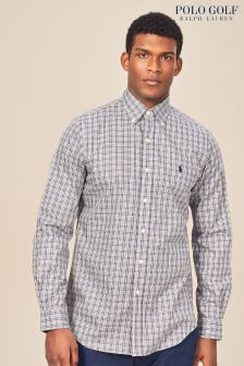 Granatowo-kremowa koszula w kratę Ralph Lauren Polo Golf