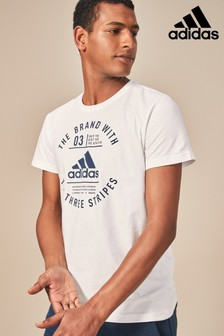 adidas White Emblem Tee