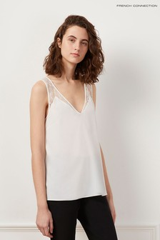 French Connection White Crepe Light Lace Trim Vest