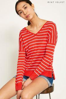 Mint Velvet Red Stripe V-Neck Boxy Knit