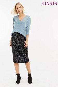 חצאית עיפרון צבעונית עם פייטים של Oasis, בצבע שחור