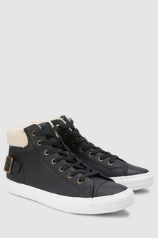 Borg Collar High Top Trainers
